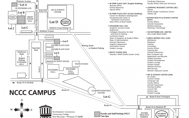 Norfolk State Campus Map.Campus Map Northwestern Connecticut Community College