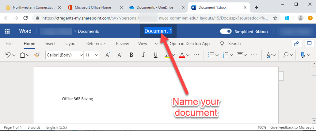 Click the name of the document in the upper center – and rename the document to your needs