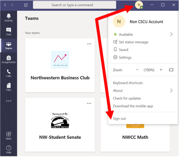 Microsoft Teams Sign Out