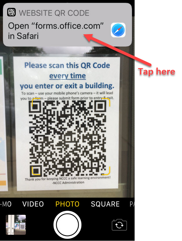 Tap Here QR Code Scan